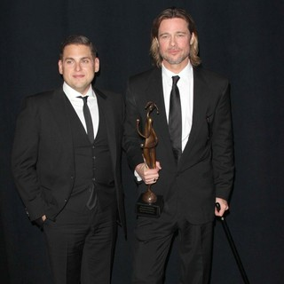 Jonah Hill, Brad Pitt in The 23rd Annual Palm Springs International Film Festival Awards Gala - Press Room