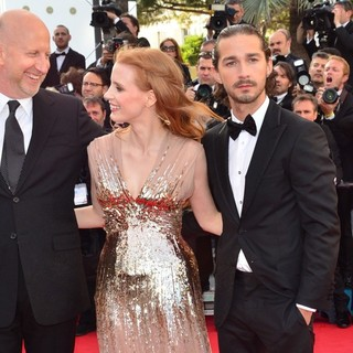 John Hillcoat, Jessica Chastain, Shia LaBeouf in Lawless Premiere - During The 65th Annual Cannes Film Festival