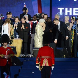Prince Charles, Camilla Parker Bowles, Jools Holland, will.i.am, Queen Elizabeth II, Gary Barlow, Annie Lennox, Paul McCartney, Elton John in The Diamond Jubilee Concert