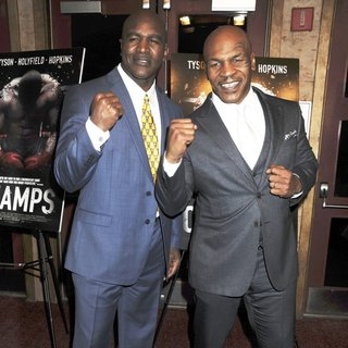 Evander Holyfield, Mike Tyson in New York Screening of Champs - Arrivals