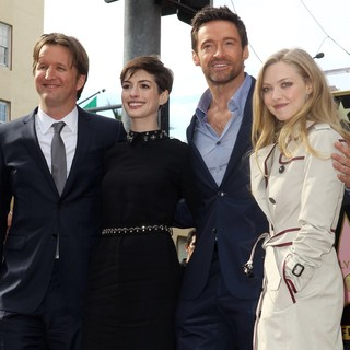Tom Hooper, Anne Hathaway, Hugh Jackman, Amanda Seyfried in Hugh Jackman Is Honoured with A Hollywood Star on The Hollywood Walk of Fame