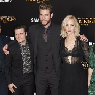 Josh Hutcherson, Liam Hemsworth, Jennifer Lawrence in The Hunger Games: Mockingjay, Part 2 New York Premiere
