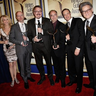 Gennifer Hutchison, Moira Walley-Beckett, Sam Catlin, Vince Gilligan, Thomas Schnauz, George Mastras, Peter Gould in The 66th Annual Writer's Guild Awards - Press Room