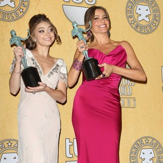 Sarah Hyland, Sofia Vergara in The 18th Annual Screen Actors Guild Awards - Press Room