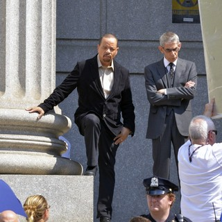 Ice-T, Richard Belzer in Filming on Location of TV Show Law and Order: Special Victims Unit Outside The Supreme Court