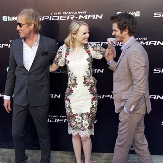 Rhys Ifans, Emma Stone, Andrew Garfield in The Spanish Premiere of The Amazing Spider-Man