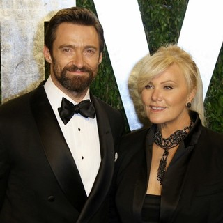 Hugh Jackman in 2013 Vanity Fair Oscar Party - Arrivals - jackman-furness-2013-vanity-fair-oscar-party-01