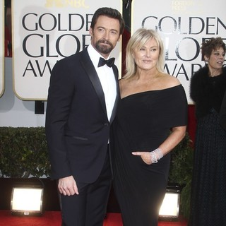 Hugh Jackman, Deborra-Lee Furness in 70th Annual Golden Globe Awards - Arrivals