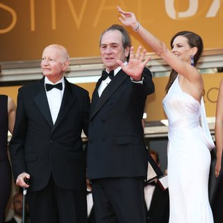 Gilles Jacob, Tommy Lee Jones, Hilary Swank in The 67th Annual Cannes Film Festival - The Homesman - Premiere Arrivals