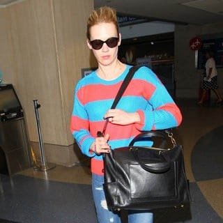 January Jones in January Jones at Los Angeles International Airport