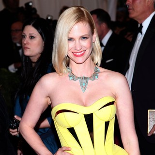 January Jones in Schiaparelli and Prada Impossible Conversations Costume Institute Gala
