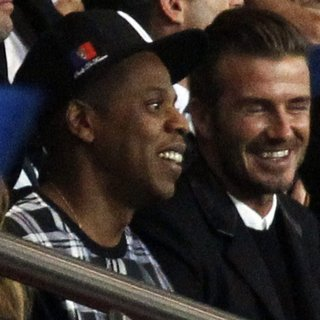 Jay-Z, David Beckham in The UEFA Champions League Match Between Paris Saint-Germain v FC Barcelona
