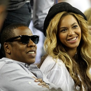 Jay-Z, Beyonce Knowles in The Men's Final on Day 15 of US Open Tennis Tournament