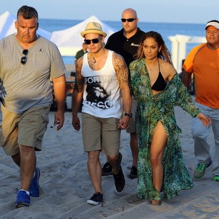 Casper Smart, Jennifer Lopez in Jennifer Lopez Filming A TV Commercial