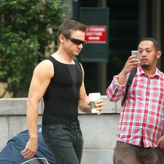 Jeremy Renner in On The Film Set of The Avengers