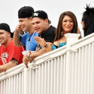 Vinny Guadagnino, DJ Pauly D, Ronnie Ortiz-Magro, Deena Nicole, Snooki in The Cast of Jersey Shore Returns to Seaside Heights After Filming in Florence, Italy