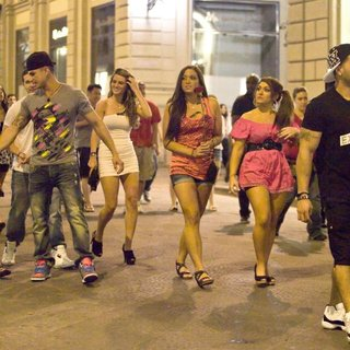 DJ Pauly D, Vinny Guadagnino, Sammi Giancola, Ronnie Ortiz-Magro in Jersey Shore Cast Members Spend The Evening Drinking at Astor Cafe