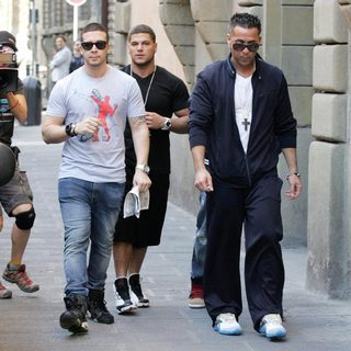 Vinny Guadagnino, Ronnie Ortiz-Magro, The Situation in Casts Shopping in Florence While Flming The Reality Show 'Jersey Shore'