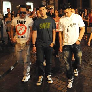 The Situation, Ronnie Ortiz-Magro, Vinny Guadagnino, Sammi Giancola, DJ Pauly D in Filming for The Reality Show 'Jersey Shore'