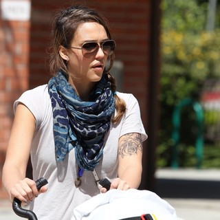 Jessica Alba in Jessica Alba Seen with A New Tattoo on Her Arm, Spends Time with Her Two Daughters