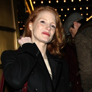 Jessica Chastain in Actors Outside The Walter Kerr Theatre for The Broadway Play The Heiress