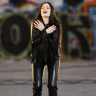 Jessie J Wearing All Black Leather for Music Video Masterpiece Filming