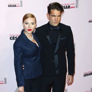 Scarlett Johansson, Romain Dauriac in 39th Cesar Film Awards - Arrivals