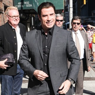 John Travolta in Celebrities Outside of The Ed Sullivan Theater for The Late Show with David Letterman