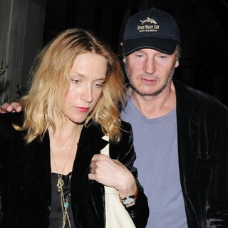 Freya St. Johnston, Liam Neeson in Liam Neeson Leaves Scott's Restaurant with Freya St. Johnston
