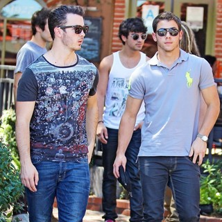 Jonas Brothers in Jonas Brothers Seen Exiting A Restaurant