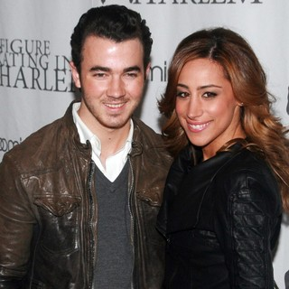 Kevin Jonas, Danielle Deleasa in 2012 Skating with The Stars Gala