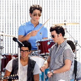 The Jonas Brothers on the set of their new music video
