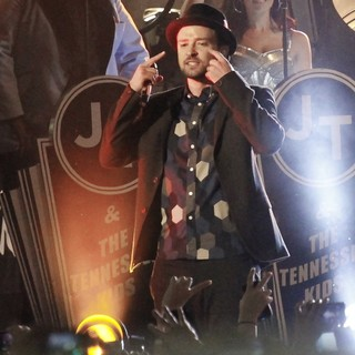 Justin Timberlake in Justin Timerlaes Performs Outside on Hollywood Blvd for The Jimmy Kimmel Show