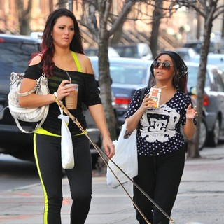 JWoww, Snooki in Snooki and JWoww Stroll Around Jersey City with Their Dogs While Filming Their Reality Show
