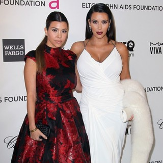 Kourtney Kardashian, Kim Kardashian in 21st Annual Elton John AIDS Foundation's Oscar Viewing Party