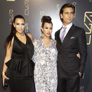 Kim Kardashian, Kourtney Kardashian, Scott Disick in The RYU Restaurant Grand Opening