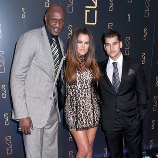 Lamar Odom, Khloe Kardashian, Rob Kardashian in The RYU Restaurant Grand Opening