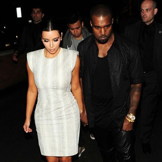 Kanye West - Kim Kardashian and Kanye West Arrive at Zuma Restaurant