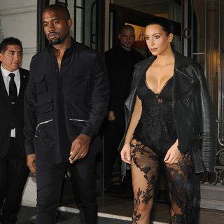 Kanye West - Kanye West and Kim Kardashian Out in Paris