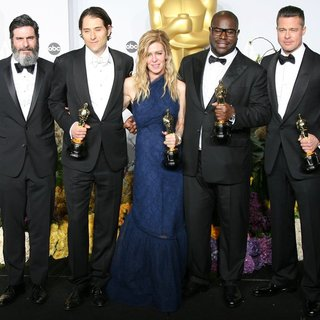 Anthony Katagas, Jeremy Kleiner, Dede Gardner, Steve McQueen, Brad Pitt in The 86th Annual Oscars - Press Room