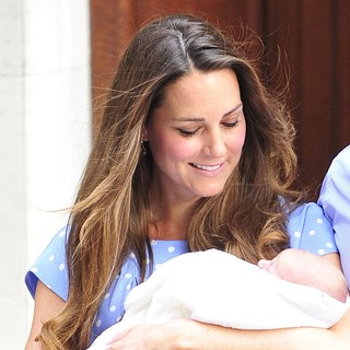 Kate Middleton in Prince William and Kate Middleton Left Hospital with Their New Bundle of Joy