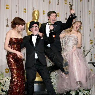 Ellie Kemper, William Joyce, Brandon Oldenburg, Wendi McLendon-Covey in 84th Annual Academy Awards - Press Room