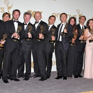 Phil Keoghan, Elise Doganieri, Bertram van Munster, Jerry Bruckheimer, Jonathan Littman in The 63rd Primetime Emmy Awards - Press Room