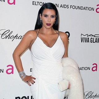 Kim Kardashian in 21st Annual Elton John AIDS Foundation's Oscar Viewing Party