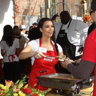 Kim Kardashian in 75th Anniversary of The Los Angeles Mission Serving Thanksgiving Dinner to The Homeless