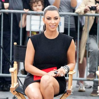 Kim Kardashian in Shooting on Location for Project Runway