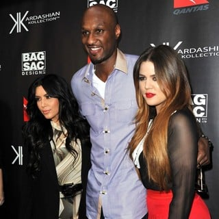 Kim Kardashian, Lamar Odom, Khloe Kardashian in Kardashian Kollection Handbag Launch at Hugo's