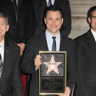 Leron Gubler, Jimmy Kimmel, Eric Garcetti in Jimmy Kimmel Honored with A Star on The Hollywood Walk of Fame