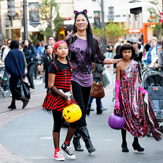 Kimora Lee Simmons in Kimora Lee Simmons and Her Family All Dressed Up for Halloween as They Walk Through The Grove