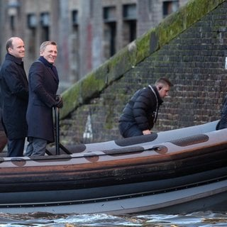 Rory Kinnear, Daniel Craig, Sam Mendes in Filming of James Bond Movie Spectre